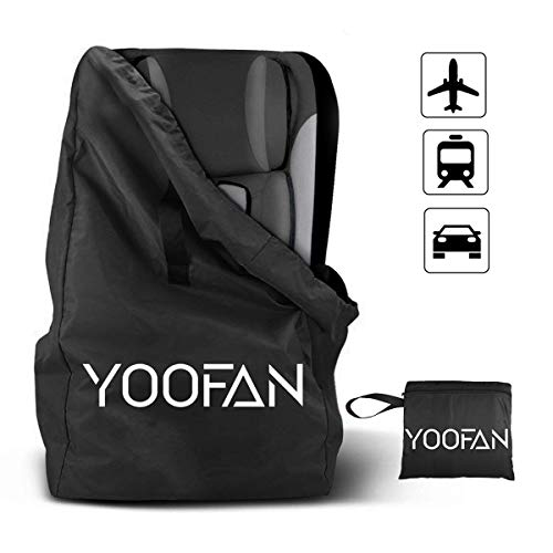 Car Seat Travel Bag, Gate Check Drawstring Backpack Bag with Shoulder Straps for Stroller,Car Seats,Boosters and Infant Carriers, Waterproof - Great for Airplane,Saving Money and Storage(Black)