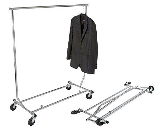 Collapsible Single Rail Rolling Salesman Garment Rack