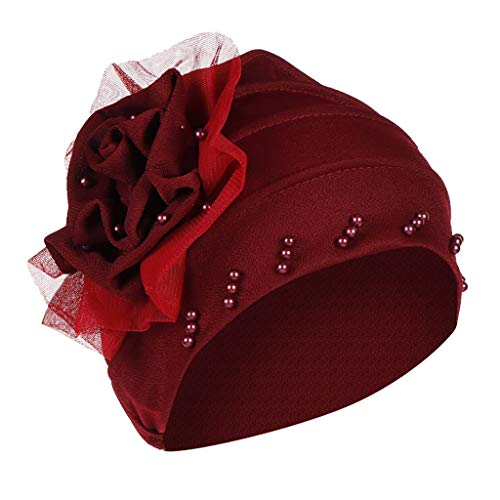 Sun Shade Cap for Women,YEZIJIN Women Pearl Beading India Hat Muslim Ruffle Cancer Chemo Beanie Turban Wrap Cap Wine