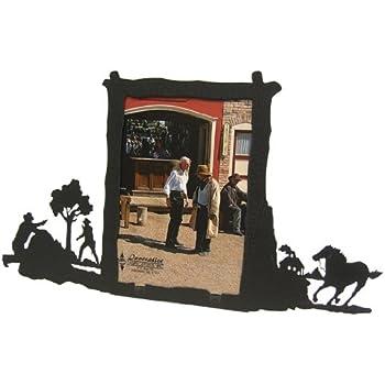 Western shootout black metal 5x7 Vertical picture frame