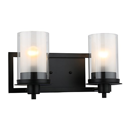 Designers Impressions Juno Matte Black 2 Light Wall Sconce / Bathroom Fixture with Clear and Frosted Glass: (Juno Black Finish)