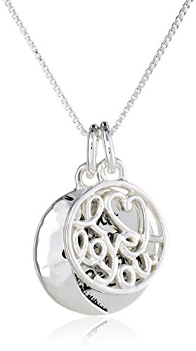 Sterling Silver Two Charm I Love You To The Moon and Back Pendant Necklace, 18