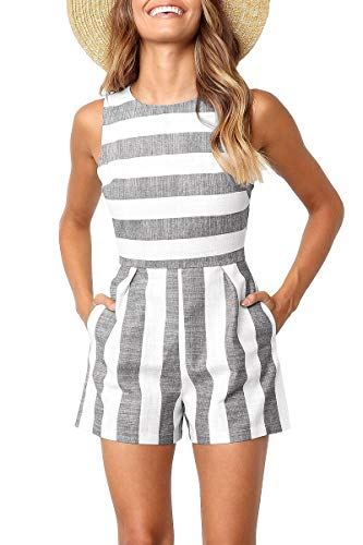 (Avanova Women Stripe Print Sleeveless Jumpsuit Romper Short Pants Casual Style,Grey XL)