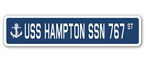 USS HAMPTON SSN 767 Street Sign us navy ship veteran sailor gift (Large Post Hampton)