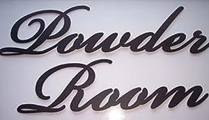 Powder Room Words Decorative Metal Wall Art