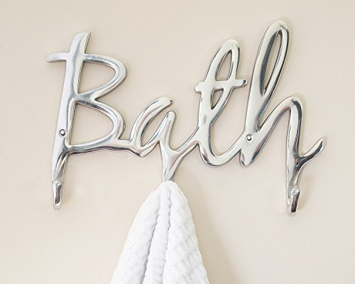 "Modern Style ""Bath"" Wall Mount Towel Holder and Robe Hook by Comfify 
