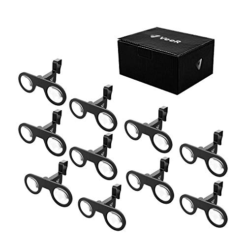 VeeR VR Mini Goggles 10 Packs, Plastic Foldable 3D VR Glasses with HD VR Lens, Virtual Reality Headset, Black