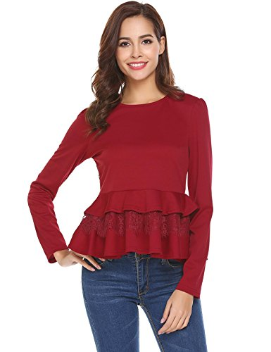 ELOVER Women Round Neck Long Sleeve Peplum Top Shirt Ruffled Layered Hem Blouse,Red,Small