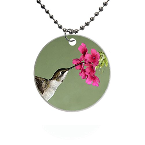 Flight flower Flowers Hummingbird nectar Custom Fashion HOT Round dog tag pet tag Necklaces pendant Bead Chain Gift ()