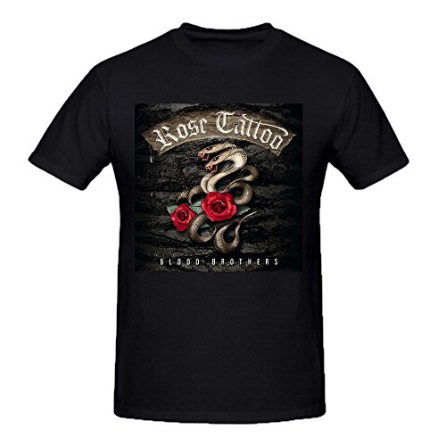 Rose Tattoo Blood Brothers Printed Tee Shirts Men Ground Neck Black