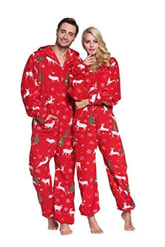 XMASCOMING Women's & Men's Hooded Fleece Onesie Pajamas Merry Christmas Size US -