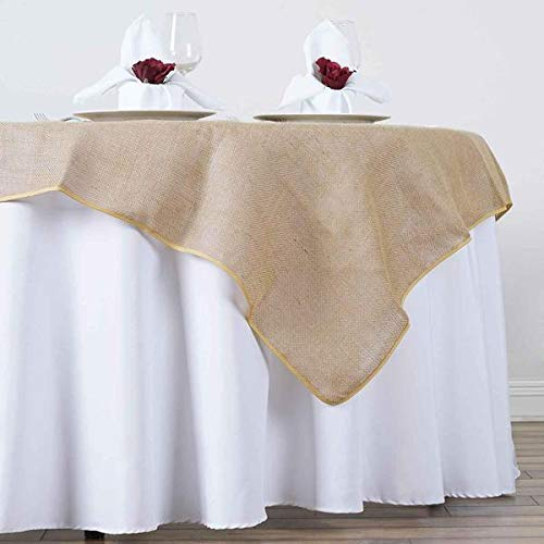 (Efavormart CHAMBURY CASA Fine Rustic Burlap Tablecloth/Square Tablecloth Overlay 60