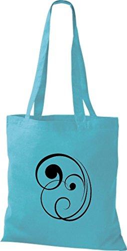 Bolsa de tela decoración floral funda de algodón, bolsa bandolera muchos colores azul celeste