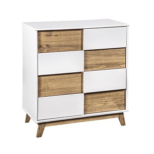 (Manhattan Comfort CS92708 Livonia Large Midcentury Bedroom Dresser White/Natural)