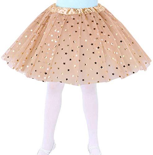 Jasmine Girls Tutu 4 Layered Tulle Stars Princess Birthday Party Tutu Skirt,Gold
