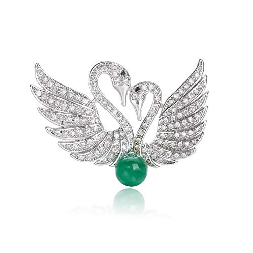 (JENIGH JEWEL Brooch Pins for Women - Swan Jade Brooch with Gemstone Sparkly Crystal Brooch Necklace Dual-use Elegant Broaches and Pins for Women Wedding Business Occasions)