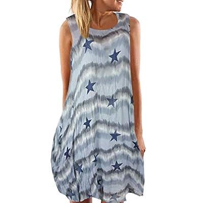 JustWin Women's Sleeveless Print Mini Skirt Round Neck 's Round Neck Dress Sleeveless s Asual Swing T-Shirt Summer Dress