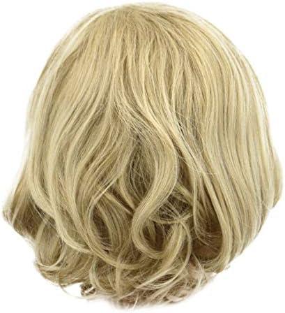 TIREOW Damen Perücke Kurz Rose net BOB Welle Natürlich Aussehende Perücken 12 Zoll, Kurze Perücke Dame Synthetische Haarkurze