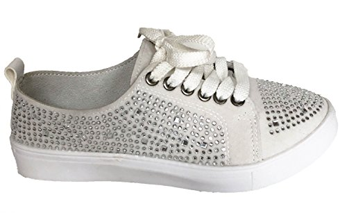 (Bolero Off White Rhinestone Tennis Shoes Sneakers (8))