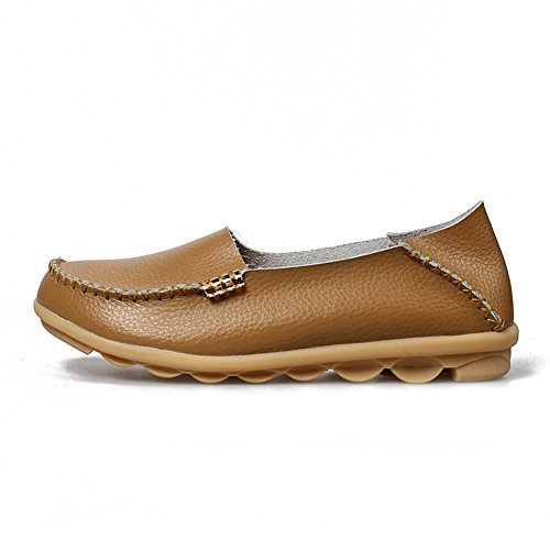 Shoes Women's Moccasin Leather Slip Big Driving AIRIKE Slippers Khaki ONS Soft Flat Sizes Loafers Casual qawPd