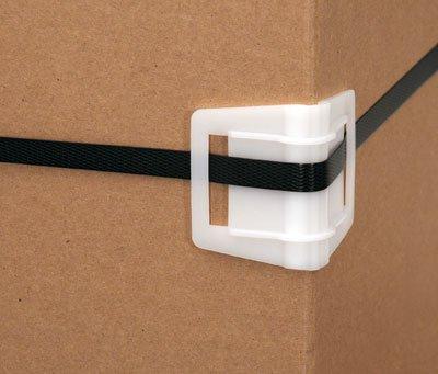2'' x 2'' x 2-3/4'' Slit Style Plastic Edge Protector - White (450 Protectors) - AB-230-1-08
