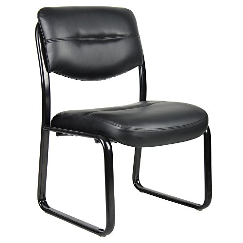 Boss Black Leatherplus Bonded Leather Guest Chair by Boss