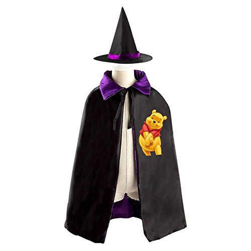 Cute Pooh Bear Kids Halloween Party Costume Cloak Wizard Witch Cape With Hat - Grand High Witch Costume