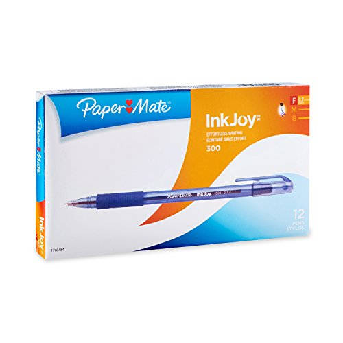 (Paper Mate InkJoy 300 Ballpoint Pen, Blue, Fine Point, 12-Count)