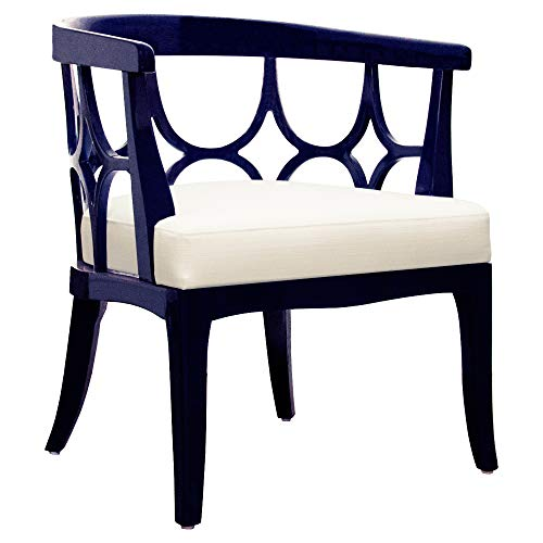 Kathy Kuo Home Allton Modern Lacquer Navy Blue Barrel Back ()