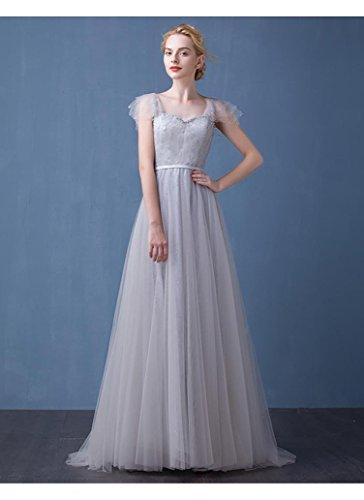 Grau Tailing Flügelärmeln Kapelle Ausschnitt Brautkleider Doppel Emily Beauty Pailletten Rückenfrei V mit aUTTPq