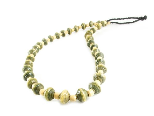 Maisha Fair Trade Strand Necklace, Light Green and Glass Black Beaded (Fair Trade Glass Beaded Necklace)