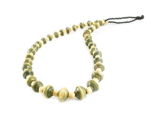 Maisha Fair Trade Strand Necklace, Light Green and Glass Black (Fair Trade Glass Beaded Necklace)