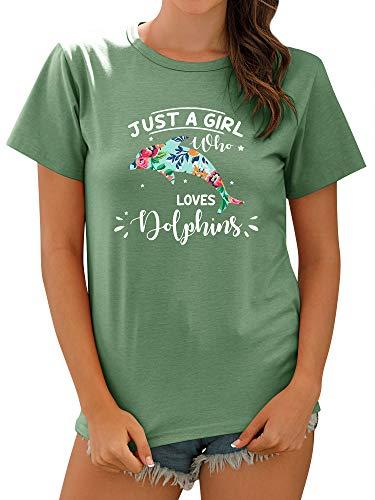 OUNAR Damen Just A Girl Loves Dolphins Briefdruck Oben Delfine Grafikdruck T-Shirts Blumenmuster Lässige Top