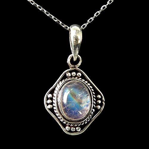Elegant Oval Moonstone Pendant, Handmade Italian Box Chain Necklace, Bohemian Jewelry, June Birthstone, Gypsy Goth, Meditation Gemstone Amulet, White Gold Plated Sterling Silver 925, FREE Gift - Sterling Silver Italian Ovale