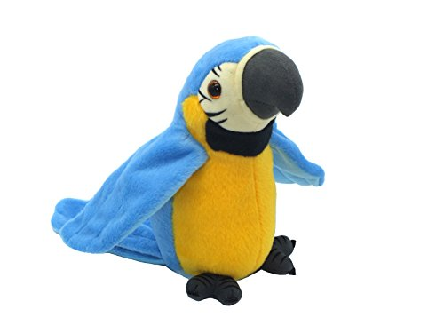 vincilee Talking Parrot Repeats What You Say Talking Bird Plush Animal Toy Electronic Plush Parrot for Boy and Girl Gift,4.3 x 8.7 inches( Blue - Electronic Bird Toy