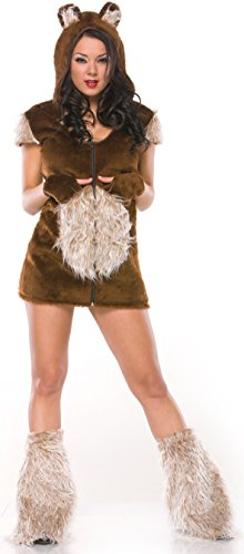 Teddy Bear Costumes Adult (Coquette Women's Teddy Bear Girl Adult Costume Medium/Large Brown)