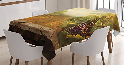 Kitchen Decor Tablecloth by Ambesonne, Vineyard Grapes Natural Rustic Vinatage Scenery Orchads Wine Home Kitchenware Cafe, Dining Room Kitchen Rectangular Table Cover, 60 X 90 Inches, Green Brown Blue (Natural Rustic)
