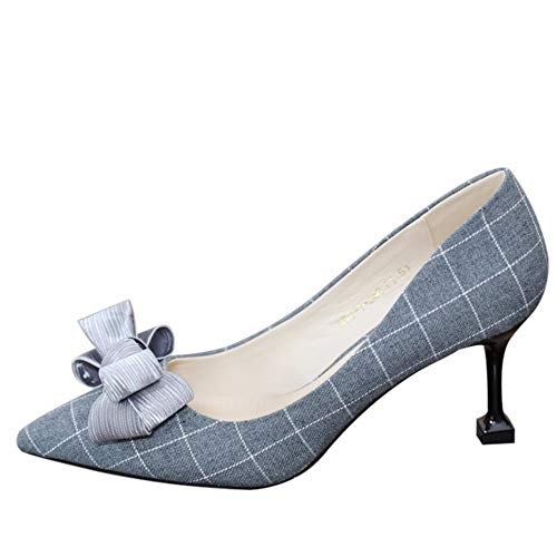 YMFIE Plaid con Zapatos EU Solo Plaid Puntiagudos señoras Trabajo Gato 34 Tacones de Moda Boca Temperamento Trabajo de 37 Baja Gris UE Zapatos Elegante Arco nqPUIrq