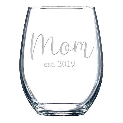 New Mom Baby Shower Gift Stemless Wine Glass Est. 2019 (Best Wine Glasses 2019)