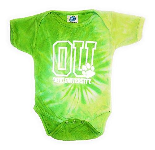 Ohio Cotton Onesie (Uptown Dog T-Shirts Ohio University Tie Dye Onesie, Lime (6 Months))