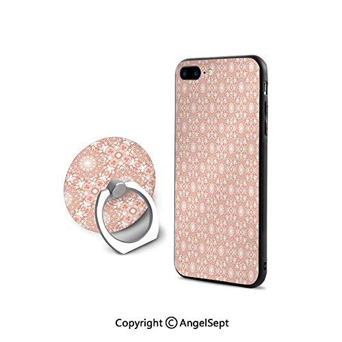 (Protective Case Compatible iPhone 7/8 with 360°Degree Swivel Ring,Artistic Flourish Embroidery Pattern Ethnic Motifs Classical Fashionable,Retail Packaging,Coral White)