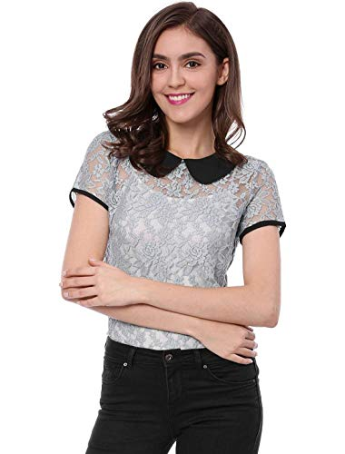Mode breal lgant Fit Manches Tops Jeune Loisir Haut Engrener Contraste Et Shirts en Femme Rond Courtes Slim Couleur Blouse Col Dentelle Grau Mode aqpwIH
