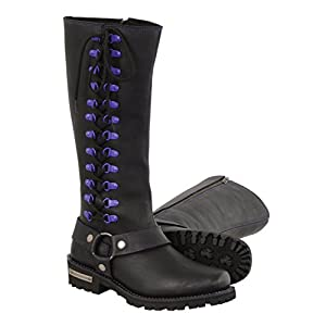 """Milwaukee Leather Women's Leather Harness Boots With Purple Accent Loops (Black/Purple, Size 9.5/14"""")"""