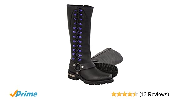 Milwaukee Leather Womens Leather Harness Boots with Purple Accent Loops Black//Purple, Size 7//14
