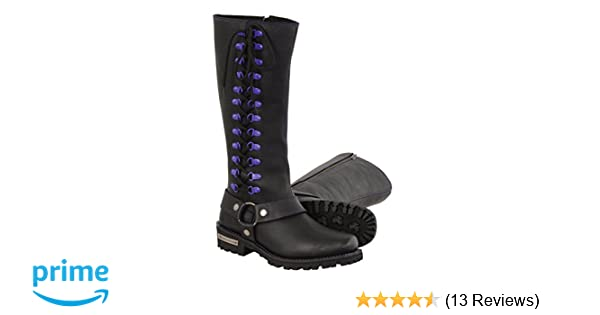 Milwaukee Leather Womens Leather Harness Boots with Purple Accent Loops Black//Purple, Size 11//14