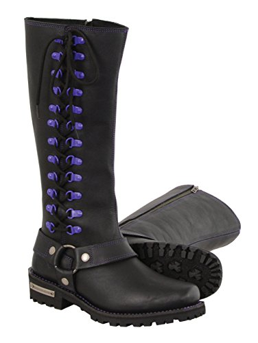 Milwaukee Leather Women's Leather Harness Boots with Purple Accent Loops (Black/Purple, Size 7.5/14