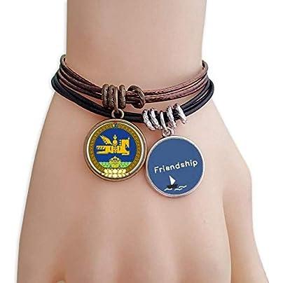 YMNW Mongolia National Emblem Friendship Bracelet Leather Rope Wristband Couple Set Estimated Price -
