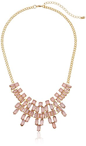 Pink Frosted Stone Bib Statement Necklace, 16