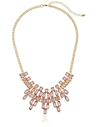 Frosted Stone Bib Statement Necklace