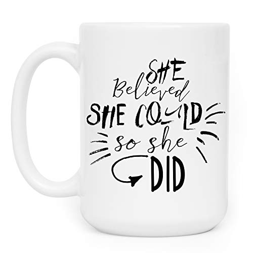 She Believed She Could So She DID Coffee Mug Gift - 14 Different Designs - 11oz & 15oz Ceramic Coffee Mug with Coaster - Funny Gifts for Coworkers, Awareness Gift for Her, Birthday Gifts - 15oz ()